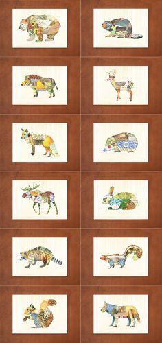 Woodland Creatures Series  PICK 1 PRINT by satchelandsage on Etsy, $12.50