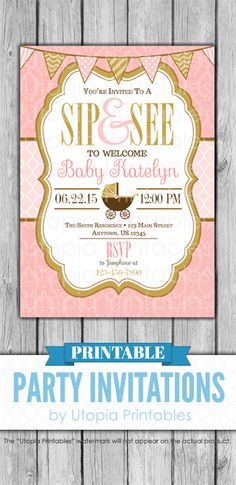 Sip and See Invitation Blush Pink Gold Damask Girl Baby Shower Carriage Buggy Cute Theme Digital Printable Customized DIY Party Sip And See Invitations, Printable Baby Shower Invitations, Baby Shower Printables, Party Invitations, Diy Party, Party Ideas, Cute Themes, Baby Buggy, Cakes For Women