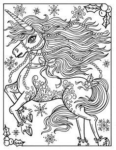 Christmas Unicorn Adult Coloring Page Book Holidays Fantasy Art