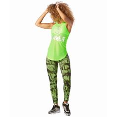 4108YY - MESH OF THE PARTY LIME RACERBACK TANK TOP