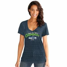 Touch by Alyssa Milano Seattle Seahawks Super Bowl XLVIII Champions Ladies Slub V-Neck T-Shirt - College Navy