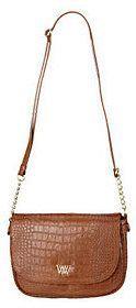 Wendy Williams Croco Embossed Leather Crossbody Bag