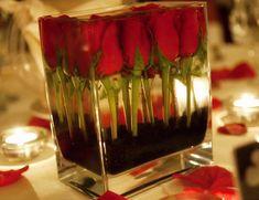 Submerged Red Black Rose Centerpiece