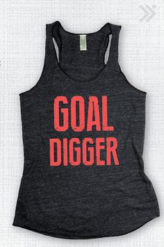 GOAL DIGGER Charcoal/Neon Coral Distressed Gym Tank, Workout Tank, Workout Shirt, Fitness Top