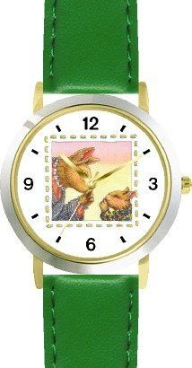 Mommy & Baby Bunny Rabbit Keeping Secret - from Hush Little Baby by Artist: Sylvia Long - WATCHBUDDY® DELUXE TWO-TONE THEME WATCH - Arabic Numbers - Green Leather Strap-Size-Children's Size-Small ( Boy's Size & Girl's Size ) WatchBuddy. $49.95. Save 38% Off!