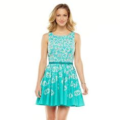 LC Lauren Conrad Floral Pleated Fit and Flare Dress