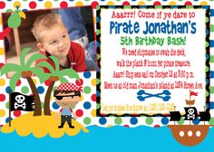 Pirate Birthday Party Invite with FREE Cupcake Tags by MouwDesigns, $10.00