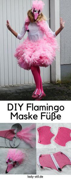 DIY Karnevalskostüm Flamingo Maske Füße selbermachen