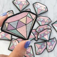 2 PCS Embroidery Colorful Diamond Sew Iron On Patch Badge Fabric Applique DIY #Unbranded