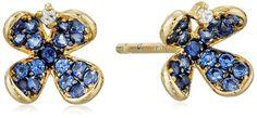 Tai Blue Pave www.teelieturner.com Flower Post Earrings $65.00 #sparkle