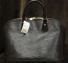 Louis Vuitton Black Epi Alma Designer Handbag, includes shoulder strap, lock & key, and dust cover. 100% authentic.    $560.00
