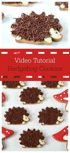 - How to decorate hedgehog (or por. Video - How to decorate hedgehog (or por. Video - How to decorate hedgehog (or por. Tutorial on decorating Santa's elf cookies with royal icing. Hedgehog Cupcake, Hedgehog Cookies, Hedgehog Birthday, Baby Hedgehog, Animal Birthday, Super Cookies, Cut Out Cookies, How To Make Cookies, Fancy Cookies