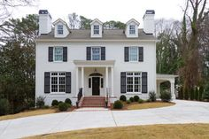 White House With black Shutters Exterior Design Ideas, Pictures, Remodel and Decor