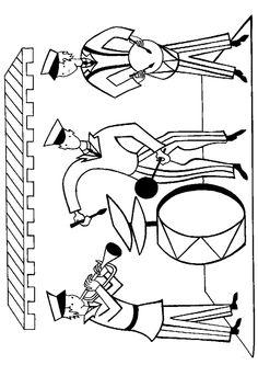 Les musiciens du cirque s'affairent avec leurs instruments, un dessin à colorier.