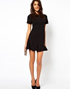 comes in Misses and Petite in 2 colors, ASOS Mini Dress with Asymmetric Peplum Hem $79