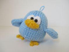 Benjy the Bluebird toy knitting pattern by fluffandfuzz on Etsy