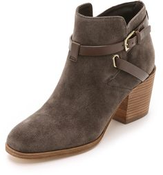 BELLE BY SIGERSON MORRISON GENIA SUEDE BOOTIES  $350 by Belle by Sigerson Morrison at shopbop.com          Available Colors: Dark Grey Available Sizes: 6,6.5,7,7.5,8,8.5,9.5,10 DETAILS Suede Belle by Sigerson Morrison booties in a slim silhouette. Wraparound buckle straps secure the crossover shaft. Stacked heel and leather sole. Leather: Goatskin. Imported, China. Measurements Heel: 2.5in / 62mm Platform: 0.5in / 10mm