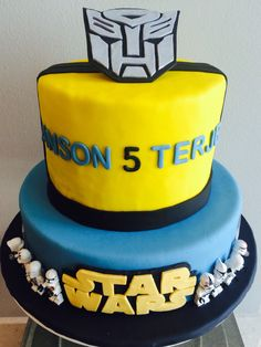 Transformer Star Wars Birthday Cake! Happy Birthday Anson and Terje! Love you both very much.