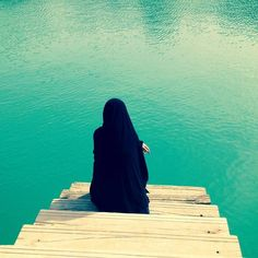 abaya, hijab, islam, muslimah, sea, think, black hijab
