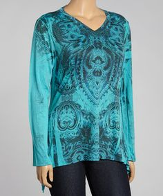 This Poliana Plus Teal & Black Geometric Sidetail Top - Plus by Poliana Plus is perfect! #zulilyfinds