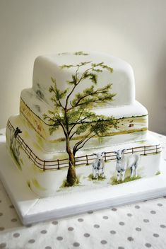 www.cakecoachonline.com - sharing...Farm Tree Wedding Cake Painted MurrayMe