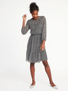 Old Navy Star-Print Chiffon Dress for Women