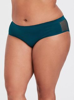 Mesh side cut outs add attitude to a hipster panty that stretches with you while disappearing under slim-fitting looks. Medium coverage Nylon/spandex/cotton Wash cold; dry low Imported plus size underwear