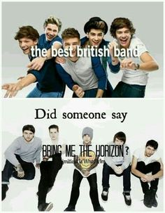 "1D isnt even really a ""band"" they're a group. BMTH is a real band.>> 1D isn't even completely british, one of them is Irish!!"