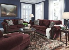 Chesterbrook Traditional Classics Burgundy Fabric Wood Living Room Set
