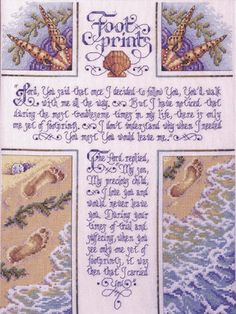 """Footprints Counted Cross Stitch Kit-10-1/2""""X14"""" 28 Count"""