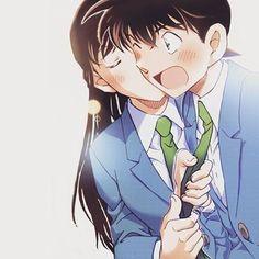 Meh ship is sailing Ran And Shinichi, Kudo Shinichi, Romantic Anime Couples, Cute Anime Couples, Magic Kaito, Fanart Manga, Detektif Conan, Kaito Kid, Fangirl