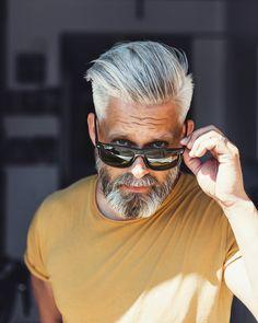 Model Swede grey hair 40 beard man male manly fit over 40 grey silverfox silver posing photography portrait beardgang grey hair men beardman hairstyle Calle Artmark Older Mens Hairstyles, Cool Haircuts, Haircuts For Men, Hair And Beard Styles, Short Hair Styles, Grey Hair Men, Hipster Haircut, Beard Haircut, Beard Look