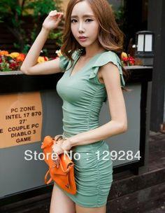 Fashion women's V neck flouncing tie back slim waist sexy strech one piece mini Dress girl's lady clothes   CN post $13.34