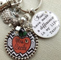 Personalized teacher gift - Thanks, You have made a difference Keychain OR Necklace, Christmas gift, rhinestone apple, daycare, babysitter
