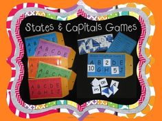 Learning the 50 states and capitals has never been so fun! These 5 manila envelope games make great center activities. Students match the letter of the state with the number of it's capital. When they've matched up all 10 number cards they turn them over to reveal a design. If their design matches the answer key's design they know they got them all correct!
