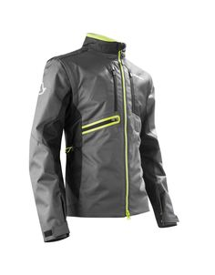 Acerbis Enduro Jacket -- New riding gear from Acerbis for 2017. This technical enduro jacket is available in three colour designs. Made from a high density polyester. Designed for use with body armour. Zip off removable sleeves. Lots of pockets. A slim, sport fit with adjustable waist drawstring and sleeve velcro closure.