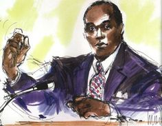 This is a court sketch of O.J. Simpson staring passively ahead while a projected image of his deceased wife emerges in the back round. Although this trial was highly publicized and cameras were allowed in the courtroom, this sketch was created to prevent any further distractions. The image was created by artist Mona Shafer Edwards.   Theartcareerproject.com/courtroom-sketch-art/982/