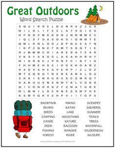 Bring back memories of a favorite family camping trip or other outdoor adventure with our Great Outdoors Word Search Puzzle. This fun, FREE printable is also great for a classroom activity – perfect to help kids gear up for summer! Kids Word Search, Word Search Puzzles, Childrens Word Search, Activities For Adults, Classroom Activities, Camping Activities, Free Printable Word Searches, Free Printable Puzzles, Word Puzzles For Kids