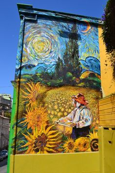 Chilean street artist Teo Doro has completed a new mural in Valparaíso. The design features extracts from three famous paintings by Vincent Van Gogh*The Sunflowers* Cypresses* and Starry Night. Santiago* Chile street art news 3d Street Art, Murals Street Art, Street Art Graffiti, Amazing Street Art, Art Mural, Street Artists, Banksy Graffiti, Graffiti Artists, Urbane Kunst