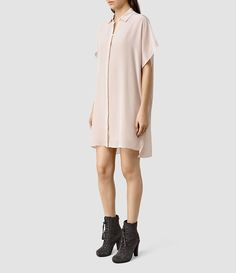 Womens Thea Shirt Dress (ASH PINK) | ALLSAINTS.com