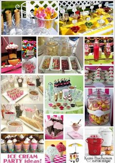 I am working on a back to school Ice Cream Shoppe Party! Here are some great inspirations I found while on my search for ideas.   Pictures p...