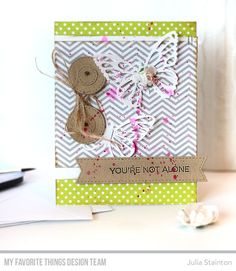 Stamps: Essential Sentiments Die-namics: Flutter of Butterflies - Lace, Stitched Circle STAX, Stitched Fishtail Sentiment Strips Julia Stainton #mftstamps