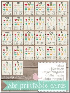 Free, Colorful Alphabet Cards. // Cartas del alfabeto