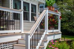 #outdoorliving #railing #outdoorlivinginspiration #railinginspo #DIY #vinylrailing   #FinylLine #cocktailrail Outdoor Stair Railing, Deck Railings, Vinyl Railing, Outdoor Living, Diys, Building, Home, Outdoor Life, Bricolage