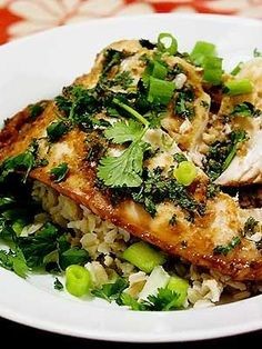 Different fish, I don't eat Tilapia... Braggs aminos for soy sauce. no wine?   Ginger and Cilantro Baked Tilapia Recipe... how to make cheap fish taste like a million bucks!