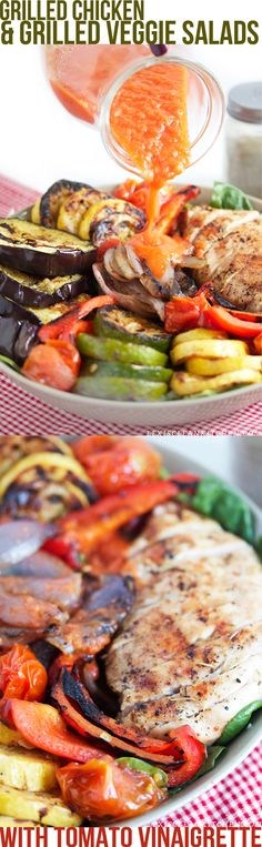 Grilled Veggie and Grilled Chicken Salads with Tomato Vinaigrette