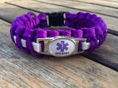 Medical Alert Epilepsy Paracord Bracelet (Purple and other colors) | Handmade By Heroes/disabled veterans. Each purchase generates support for U.S. Veterans and their families.