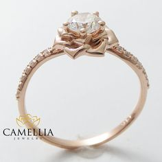 14K Rose diamante anillo de compromiso 040 ct diamante