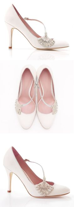 A beautiful round toe bridal shoe, flatteringly low cut with an asymmetric diagonal strap and stunning deco inspired fan trim in pearl and crystal.
