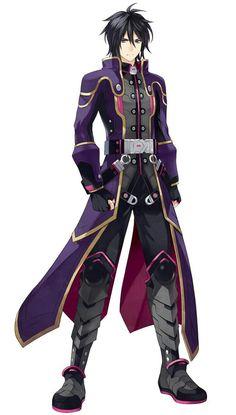 Anime Guy | Black Hair | Purple and Grey Jacket | Armor | Gloves